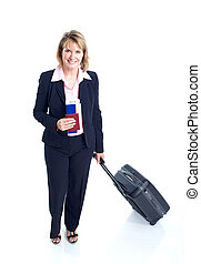 Business woman - Smiling business woman with suitcase...