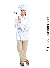 Chef - Smiling chef Isolated over white background Gourmet...