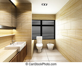 Toilet in Bathroom - Modern Toilet in Bathroom of residences...