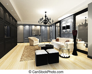 Elegant Living room - Elegant living room design in 3D...