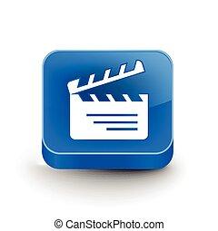 clapper boards web icon - vector glossy clapper boards web...