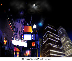 Night life - Concept scene of city lights and signs at night