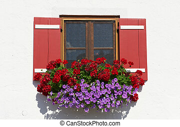 Bavarian Window - Typical Bavarian Window With Open Wooden...