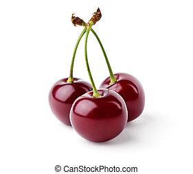 tres, delicioso, cerezas