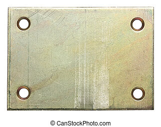 Metal plate with holes for screws.