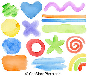 Watercolor elements - Watercolor hand painted design...