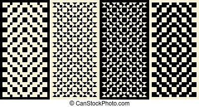 Geometric Designs - Four rectangular geometric patterns.