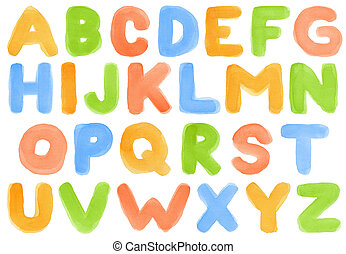 Watercolor alphabet - Handwritten watercolor alphabet,...