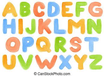Watercolor alphabet - Handwritten watercolor alphabet,...