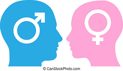 Man and woman facing each other - Male and female heads...