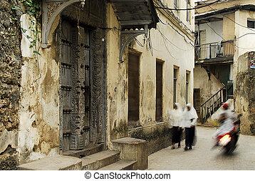 Stone town alley ways on Zanzibar Island - Motion photo of...