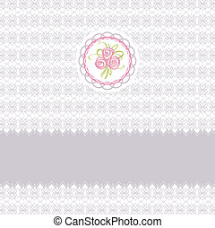 Cute greeting vector card with roses element design for easter or birthday