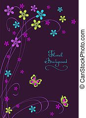Floral card background with flower and  butterfly
