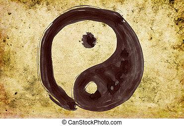 hand painted yin and yang symbol
