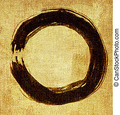 hand painted zen circle on canvas background