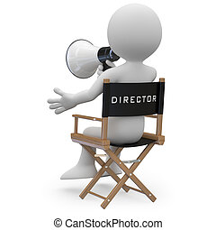 Film director sitting in a chair with a megaphone. Image of...