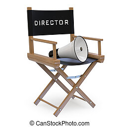 Film directors chair with a megaphone Image of a chair...