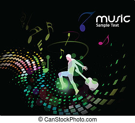 silhouetted a young man enjoy music, vector illustration