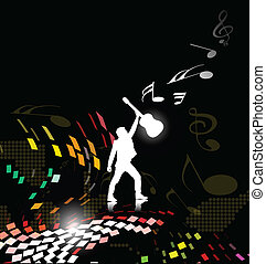 silhouetted a young man enjoy music, vector illustration.