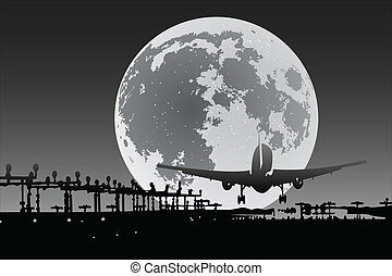 Plane silhouette with full moon on background