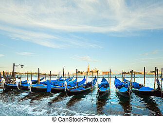 Venice gondolas - Parked gondolas on Piazza San Marco and...
