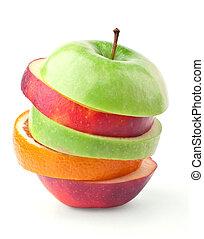 capas, manzanas, naranjas
