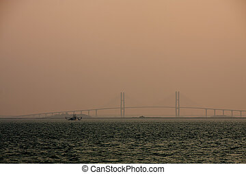 Shrimp Boat by Bridge in Dusk Pink - A shrimp boat near a...