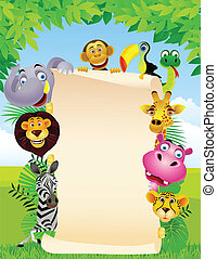 Animal and blank sign - Vector illustration of wild animal...