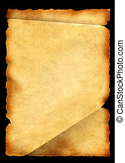Parchment - Old parchment Isolated over black