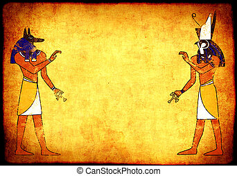 Anubis and Horus - Background with Egyptian gods images -...