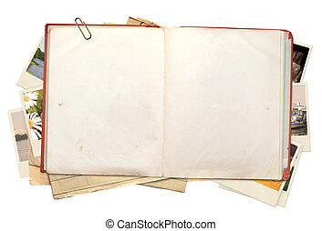 Memories - Old book and photos Objects isolated over white