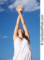 crossed hands up woman - white shirt woman crossed hands up...