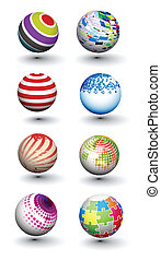 Set of colorful spheres design - Set of vector 3d colorful...