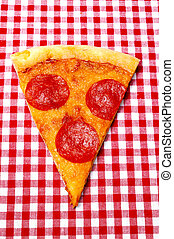 Pepperoni Pizza Slice on Red Gingham Closeup