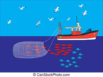 Fishing boat trawler net catch guls sea