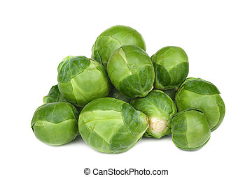 brussel sprouts - Ripe Green brussel sprouts isolated on...