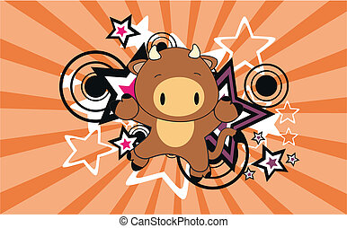 bull baby cartoon jump background in vector format