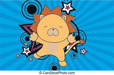 lion baby cartoon jump background in vector format