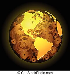 Gear earth background - Vector illustration of Gear earth...