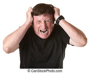 Frustrated Mature Man - Mature Caucasian man screams in...