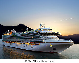 Cruise ship - Luxury cruise ship sailing from port on...