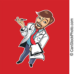 Young good doctor - Young funny good doctor with a pen and a...