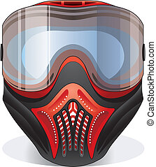 Red paintball mask - Red and black paintball mask with...