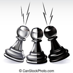 traitor pawn black and white among a black  and a white pawn