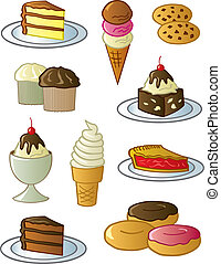 Desserts And Sweets - Assorted fun desserts and sweets drawn...
