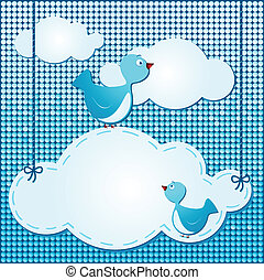 Clouds background with cute birds, vector