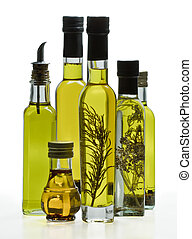 Collection of olive oil bottles with seasonings