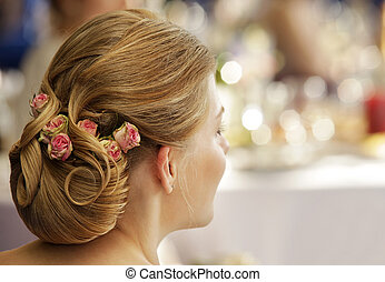 Wedding hairdress - The girl with a wedding hairdress