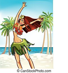 Hawaii happy girl - cheerful Hawaiian girl in a wreath of...