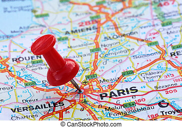 Paris with pin - Paris with red pin